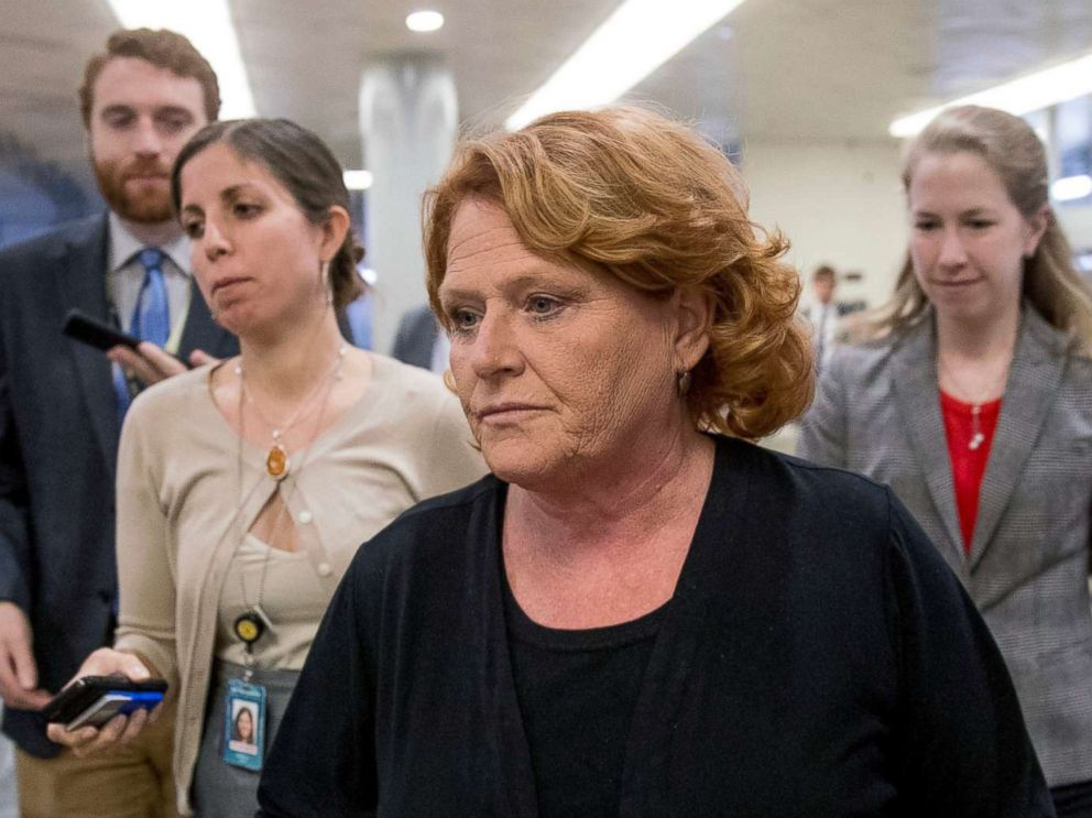 PHOTO: In this Sept. 25, 2018 file photo, Democratic Sen. Heidi Heitkamp walks through the Senate Subway as she arrive at the Capitol, in Washington.