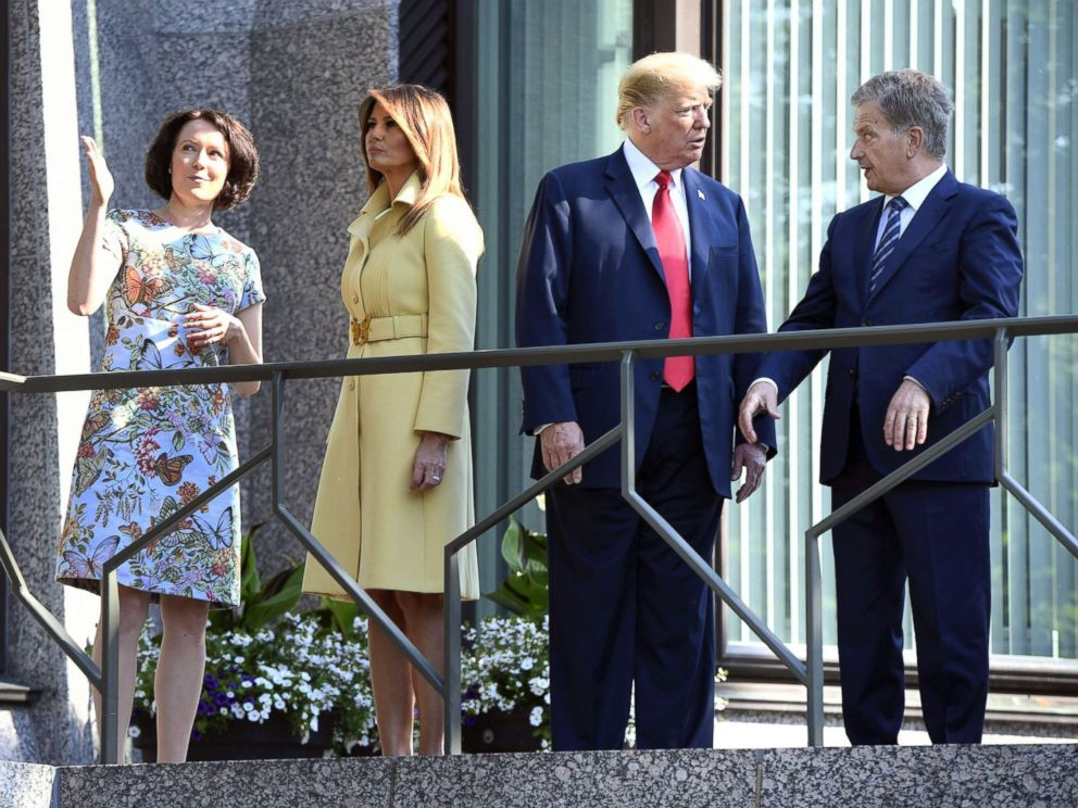 PHOTO: President Donald Trump talks with the President of Finland Sauli Niinisto (right), as first lady Melania Trump talks with his spouse Jenni Haukio, left, at the presidents official residence in Mantyniemi, in Helsinki, Finland, July 16, 2018.