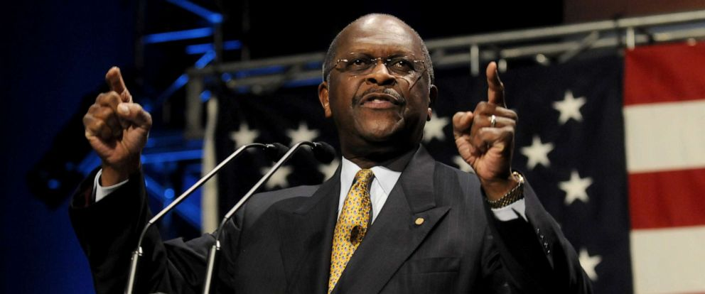 Potential GOP presidential candidate Herman Cain, the former chairman and CEO of Godfathers Pizza, speaks at the Iowa Faith & Freedom Coalition event, March 7, 2011, in Waukee, Iowa.