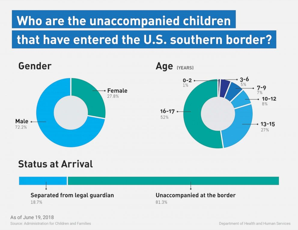 PHOTO: A graphic released by the Department of Health and Human Services on June 20, 2018 shows the demographic breakdown of children who crossed the southern border who are now in custody of the government.