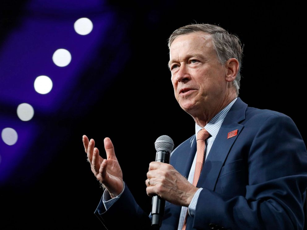 PHOTO: Democratic presidential candidate and former Colorado Gov. John Hickenlooper speaks in Des Moines, Iowa, Aug. 10. 2019.