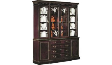 PHOTO: A Breakfront china cabinet from Hickory Chair Furniture Co. with optional sable finish with antique rub light gold striping is pictured in a photo from hickorychair.com.