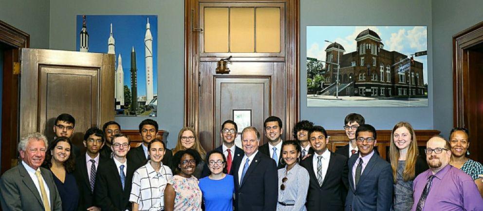 PHOTO: Hightstown High School students meet with Sen. Doug Jones before he introduced the bill to the Senate floor.