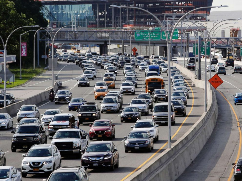 PHOTO: Cars on the Grand Central Parkway pass LaGuardia Airport in New York, Aug. 1, 2018. The Trump administration has proposed rolling back tougher Obama-era gas mileage requirements that are set to take effect after 2020.