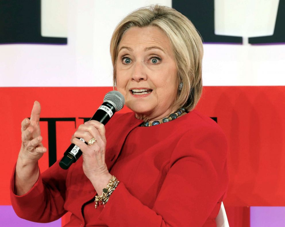 PHOTO: Hillary Clinton speaks during the TIME 100 Summit, in N.Y., April 23, 2019.