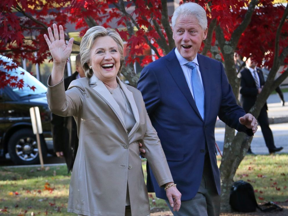PHOTO: In this Nov. 8, 2016, file photo, Democratic presidential candidate Hillary Clinton, and her husband former President Bill Clinton, greet supporters after voting in Chappaqua, N.Y.
