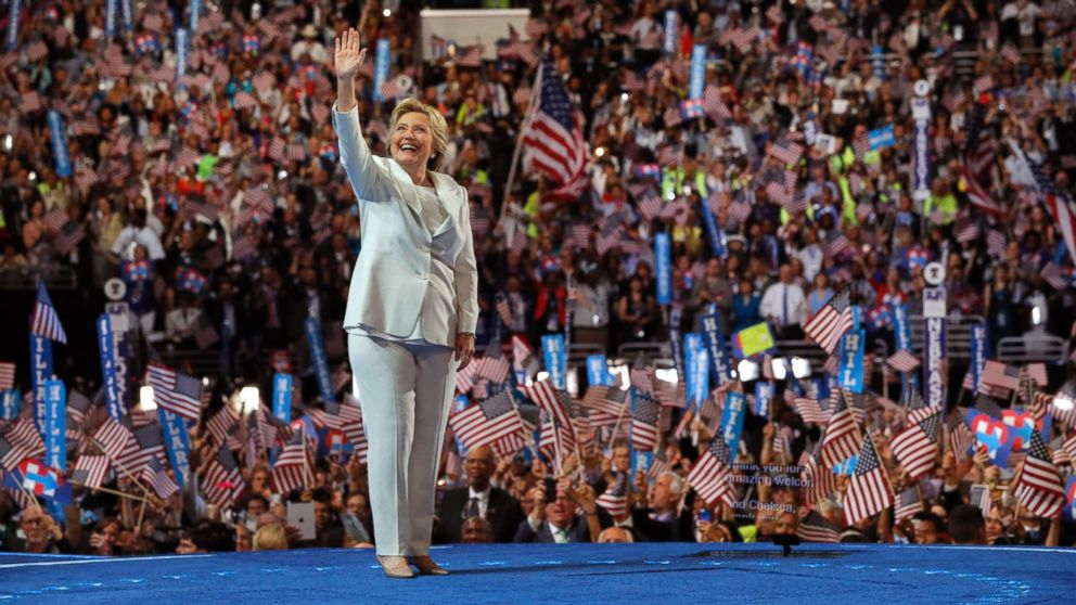 Democratic U.S. presidential nominee Hillary Clinton waves as she arrives to accept the nomination on the fourth and final night at the Democratic National Convention in Philadelphia, July 28, 2016.