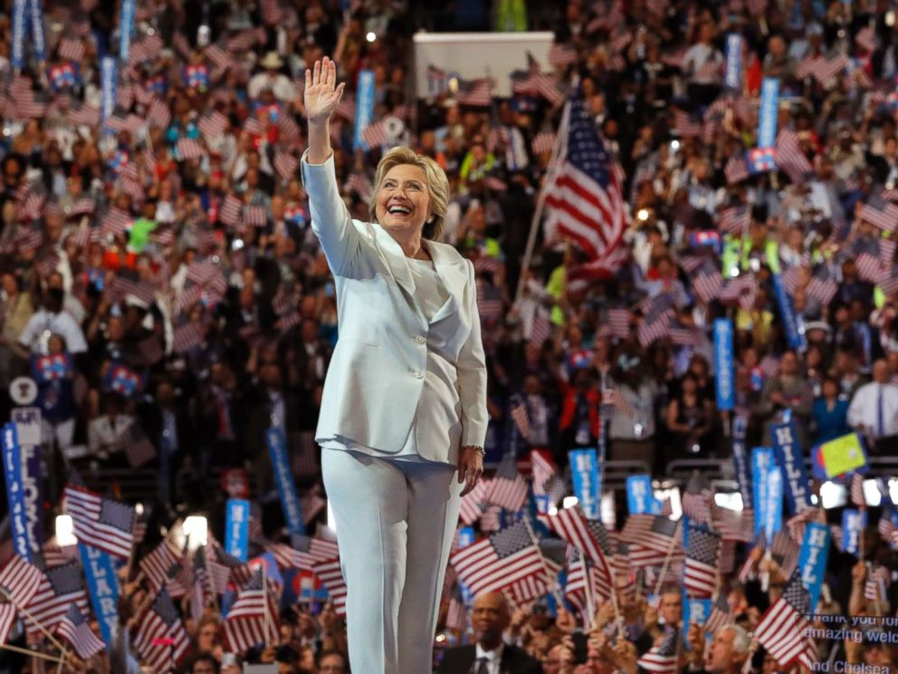 PHOTO: Democratic U.S. presidential nominee Hillary Clinton waves as she arrives to accept the nomination on the fourth and final night at the Democratic National Convention in Philadelphia, July 28, 2016.