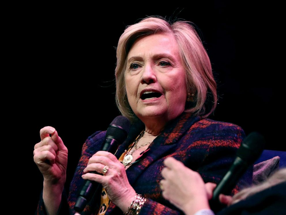 PHOTO: Former U.S. Secretary of State Hillary Clinton speaks during an event promoting The Book of Gutsy Women at the Southbank Centre in London, Britain, Nov. 10, 2019.