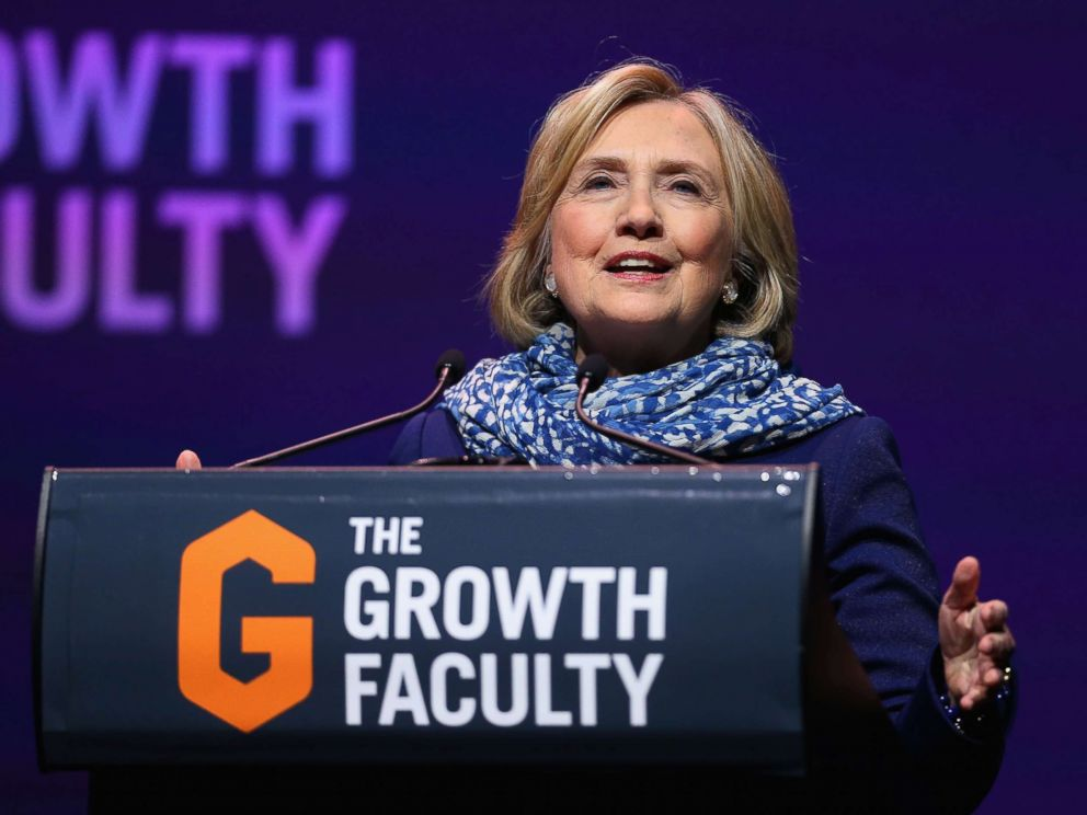 PHOTO: Hillary Clinton speaks during An Evening With Hillary Rodham Clinton at ICC Sydney, May 11, 2018, in Sydney.