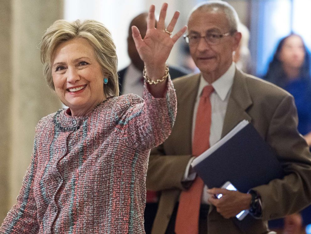 PHOTO: Presidential candidate Hillary Clinton and her campaign chairman, John Podesta, arrive in the Capitol to meet with Senate Democrats, July 14, 2016.