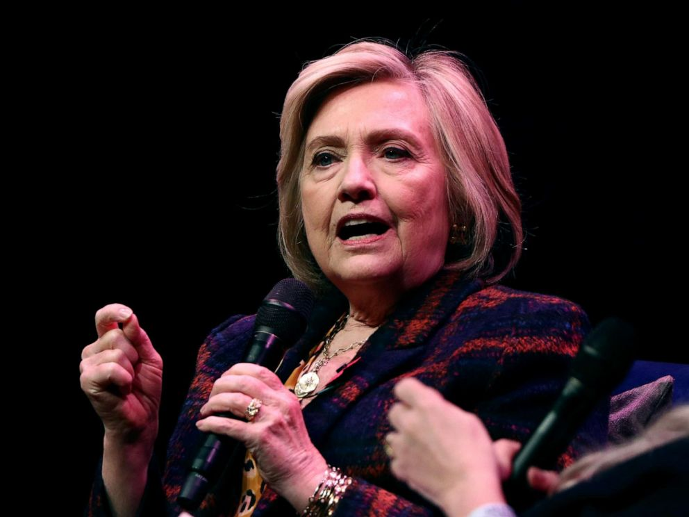 PHOTO: Former U.S. Secretary of State Hillary Clinton speaks during an event promoting The Book of Gutsy Women at the Southbank Centre in London, Nov. 10, 2019.