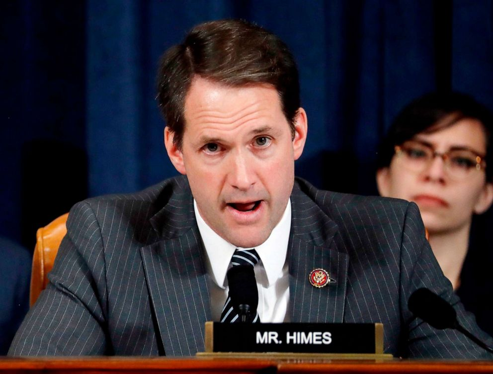 PHOTO: Rep. Jim Himes questions Jennifer Williams and Alexander Vindman as they testify before the House Intelligence Committee on Capitol Hill in Washington,D.C. on Nov. 19, 2019.