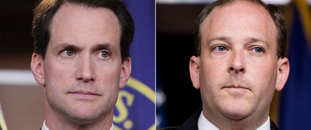 PHOTO: Democratic Coalition member Rep. Jim Himes participates in a news conference Nov. 15, 2012, in Washington, DC. | Rep. Lee Zeldin speaks during the press conference on Sept. 6, 2018.