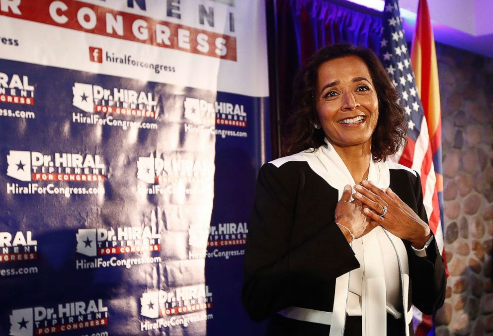 Democratic candidate for the 8th Congressional District, Dr. Hiral Tipirneni pauses as she is greeted by supporters April 24, 2018, in Glendale, Ariz.