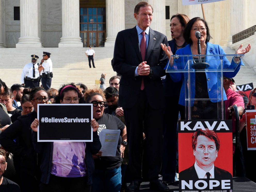 PHOTO: Democratic Senator Mazie Hirono address protesters in opposition to Brett Kavanaughs Supreme Court nomination with Senators Richard Blumenthal and Kamala Harris at her side on the steps of the Supreme Court in Washington, Sept. 28, 2018.