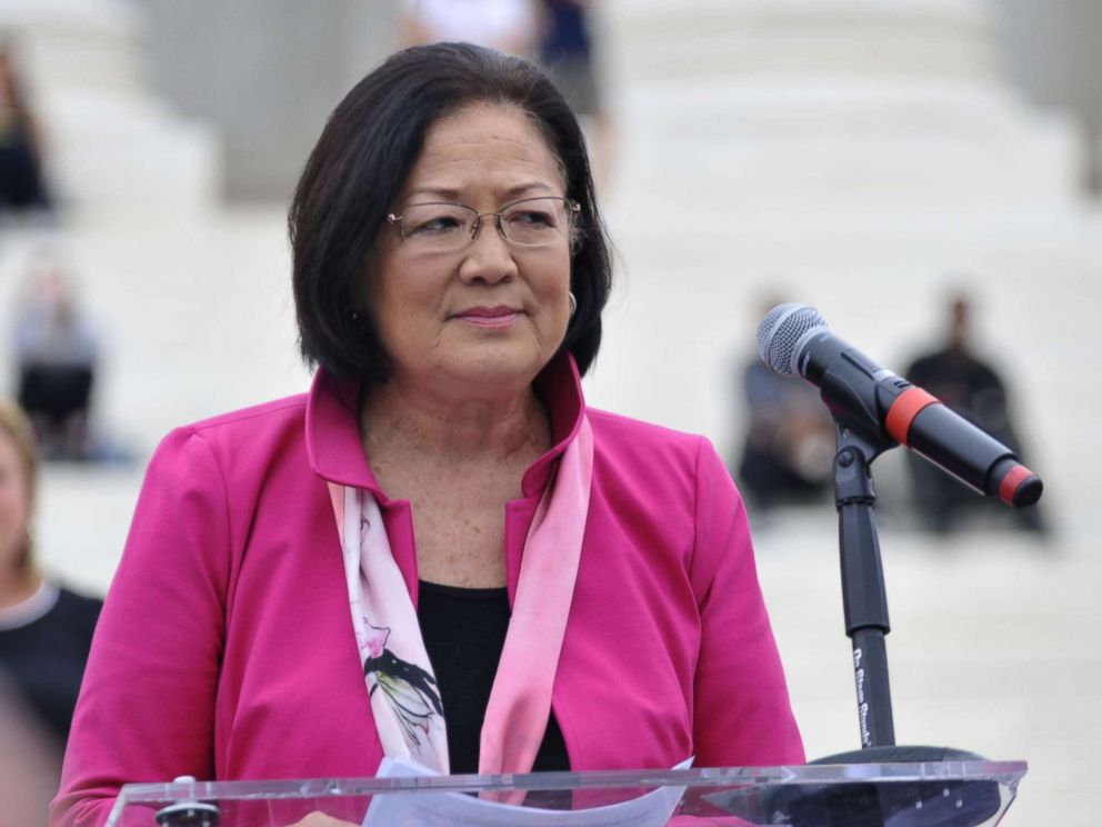 Sen. Mazie Hirono (D-HI) speaks to demonstrators gathered at the steps of the Supreme Court ahead of the expected confirmation of Judge Brett Kavanaugh, Oct. 6, 2018.