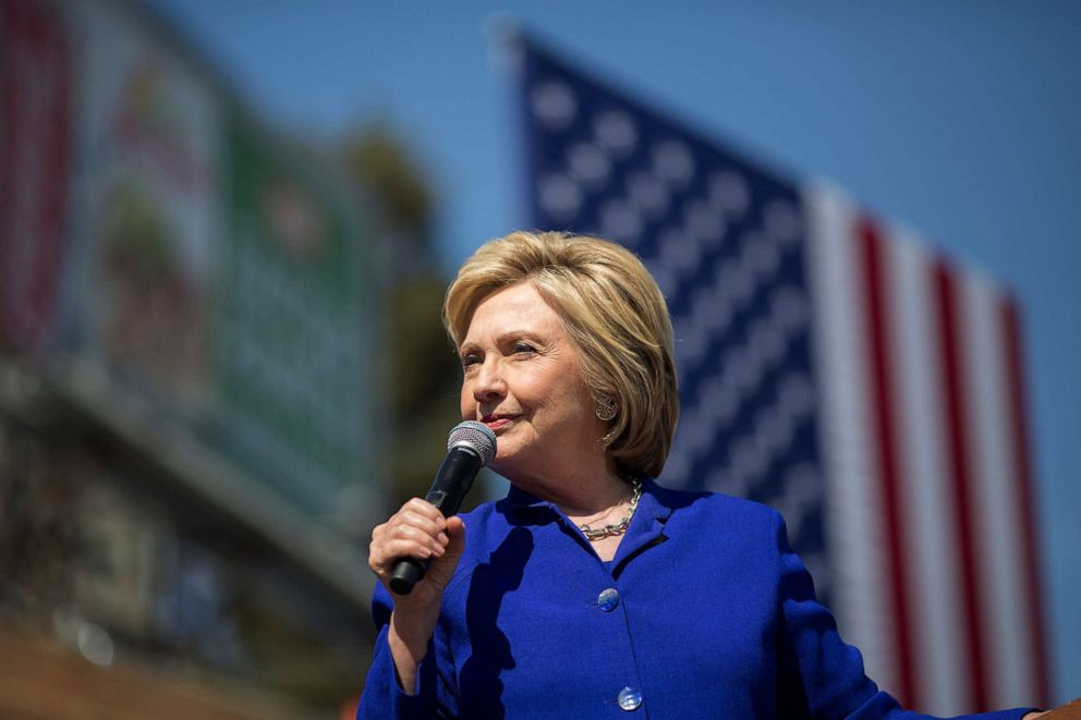 PHOTO: Democratic presidential candidate Hillary Clinton speaks at the South Los Angeles Get Out The Vote Rally at Leimert Park Village Plaza on June 6, 2016, in Los Angeles.