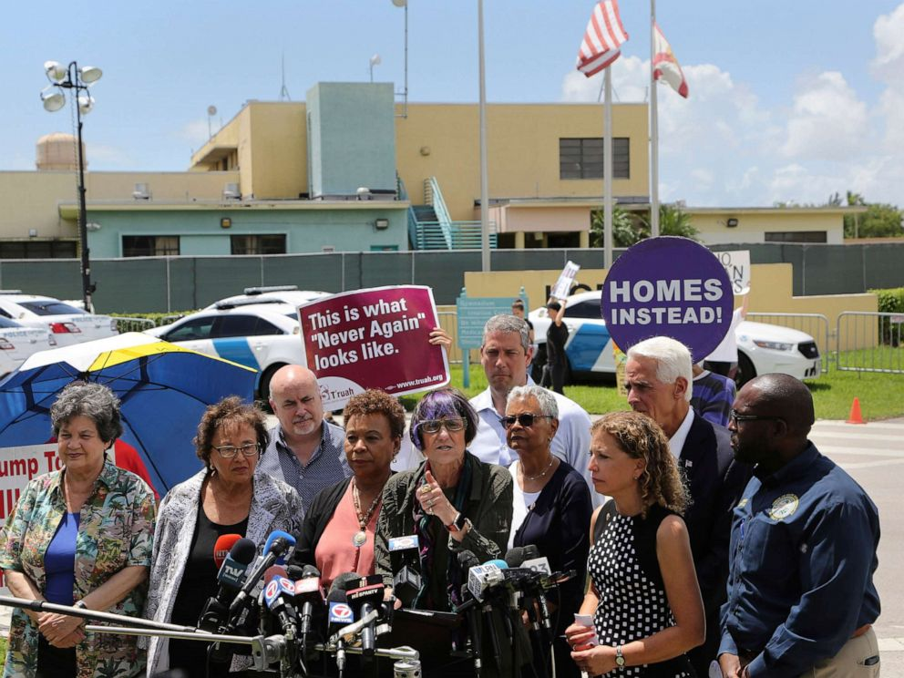 PHOTO: Rep. Rosa DeLauro, center, stands with other members of Congress following a tour of the Homestead Shelter for Unaccompanied Children, July 15, 2019, in Homestead, Fla.