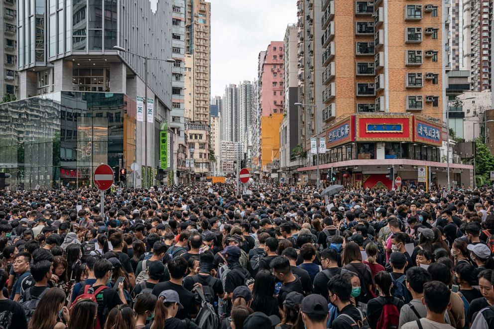 PHOTO: Protesters take part in a march during a demonstration on August 3, 2019 in Hong Kong, China.