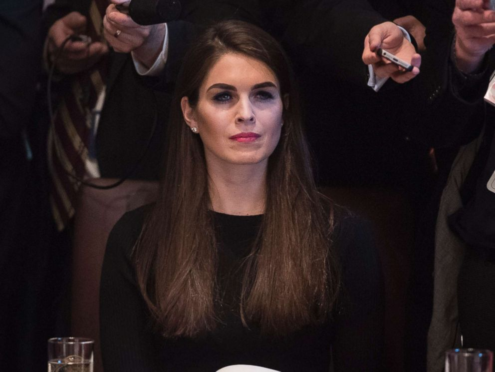PHOTO: Hope Hicks, White House director of strategic communications, listens during a meet at the White House, Feb. 13, 2017.