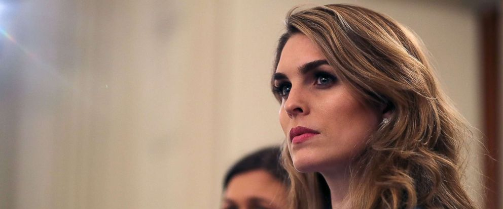 PHOTO: White House Communications Director Hope Hicks attends a listening session hosted by President Donald Trump with student survivors of school shootings, their parents and teachers in the State Dining Room at the White House, Feb. 21, 2018.