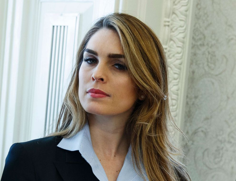 PHOTO: White House Communications Director Hope Hicks is pictured during a meeting in the Oval Office between President Donald Trump and Shane Bouvet, Feb. 9, 2018, in Washington, D.C.