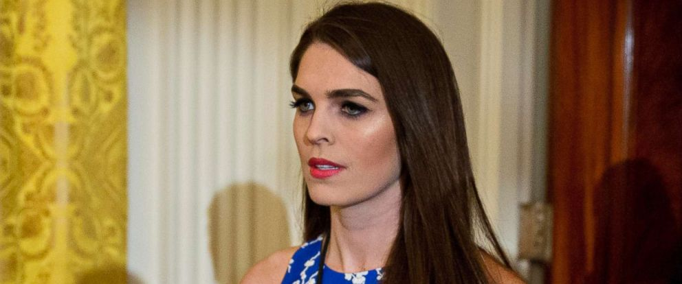 PHOTO: Hope Hicks arrives to a swearing in ceremony of a White House senior staff in the East Room of the White House, Jan. 22, 2017, in Washington.