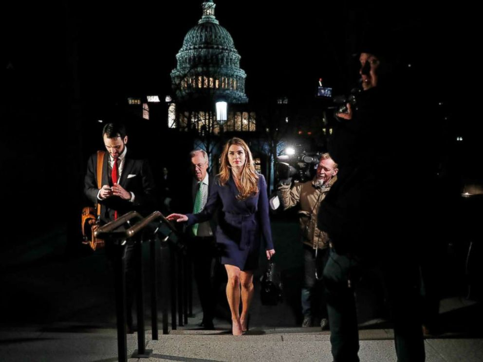 PHOTO: White House Communications Director Hope Hicks leaves the Capitol after attending the House Intelligence Committee closed door meeting in Washington, Feb. 27, 2018.