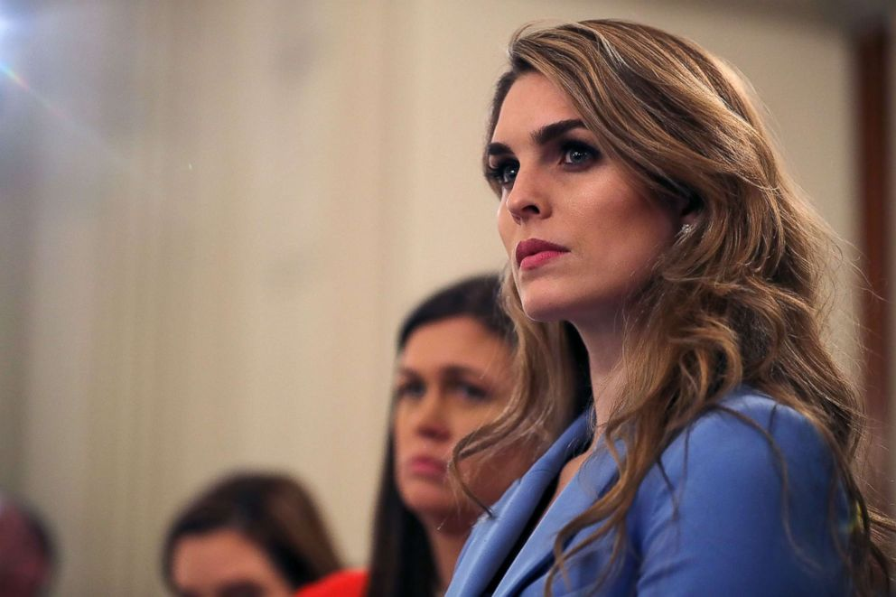 PHOTO: White House Communications Director Hope Hicks attends a listening session hosted by President Donald Trump with student survivors of school shootings at the White House Feb. 21, 2018 in Washington.