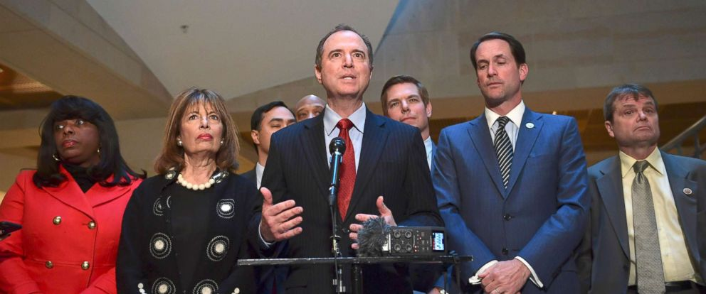 PHOTO: House Intelligence Committee ranking member Rep. Adam Schiff, D-Calif., center, speaks to reporters on Capitol Hill in Washington, March 13, 2018.