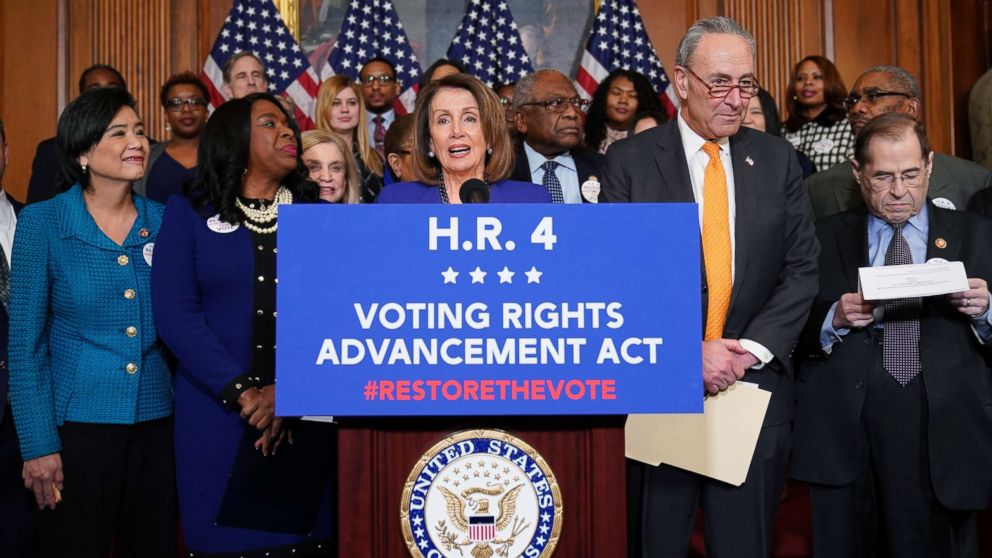 Speaker of the House Nancy Pelosi (D-CA) speaks about the Voting Rights Enhancement Act, H.R. 4 on Capitol Hill, Feb. 26, 2019.