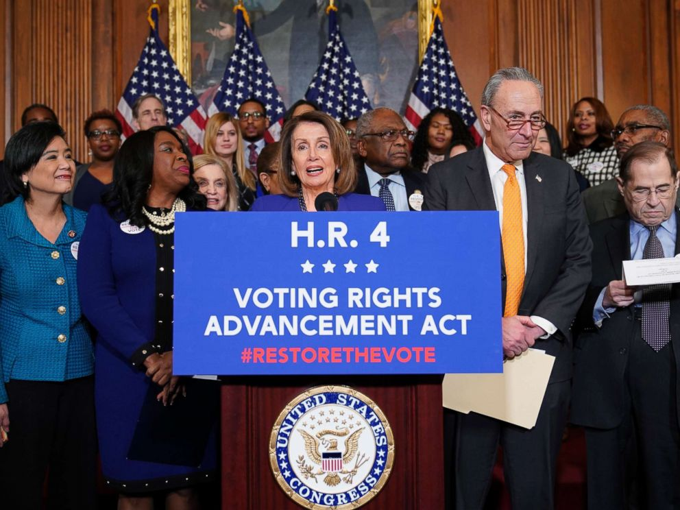 PHOTO: Speaker of the House Nancy Pelosi (D-CA) speaks about the Voting Rights Enhancement Act, H.R. 4 on Capitol Hill, Feb. 26, 2019.