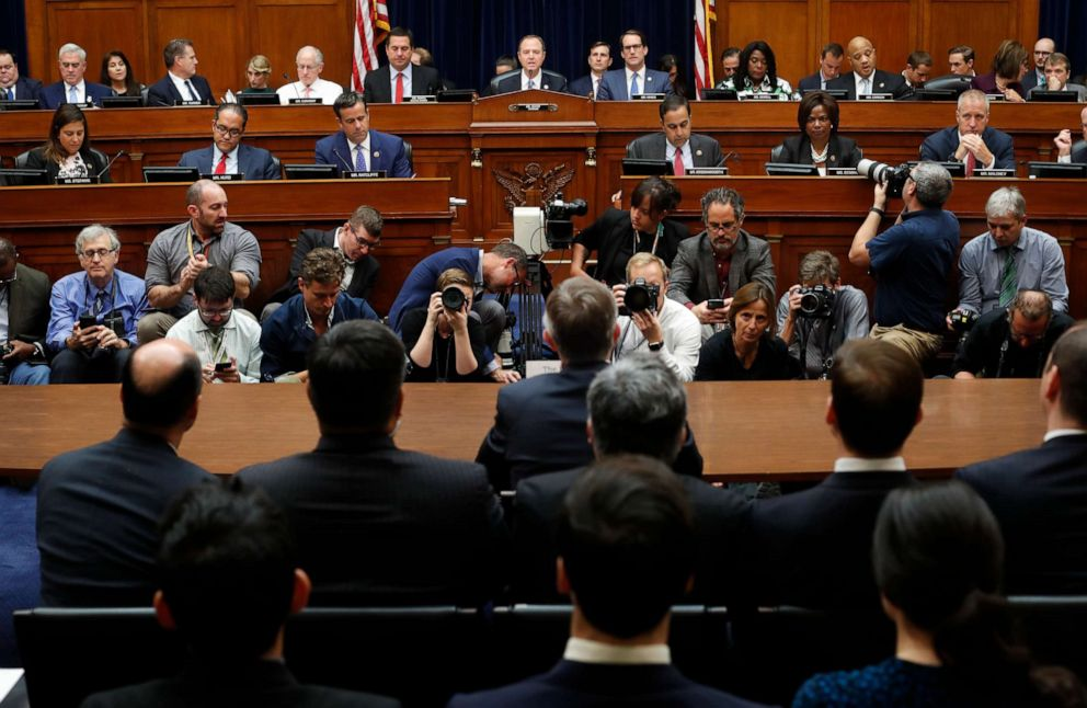PHOTO: Chairman Rep. Adam Schiff, D-Calif., center, makes an opening statement before questioning Acting Director of National Intelligence Joseph Maguire before the House Intelligence Committee on Capitol Hill in Washington, Sept. 26, 2019.
