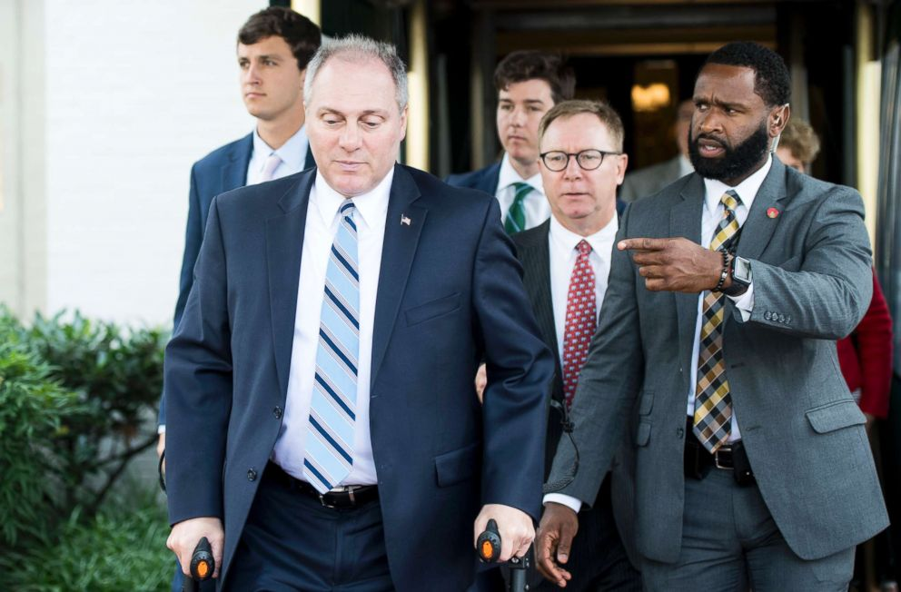 PHOTO: House Majority Whip Steve Scalise, left, leaves the House Republican Conference meeting at the Capitol Hill Club in Washington, June 13, 2018.