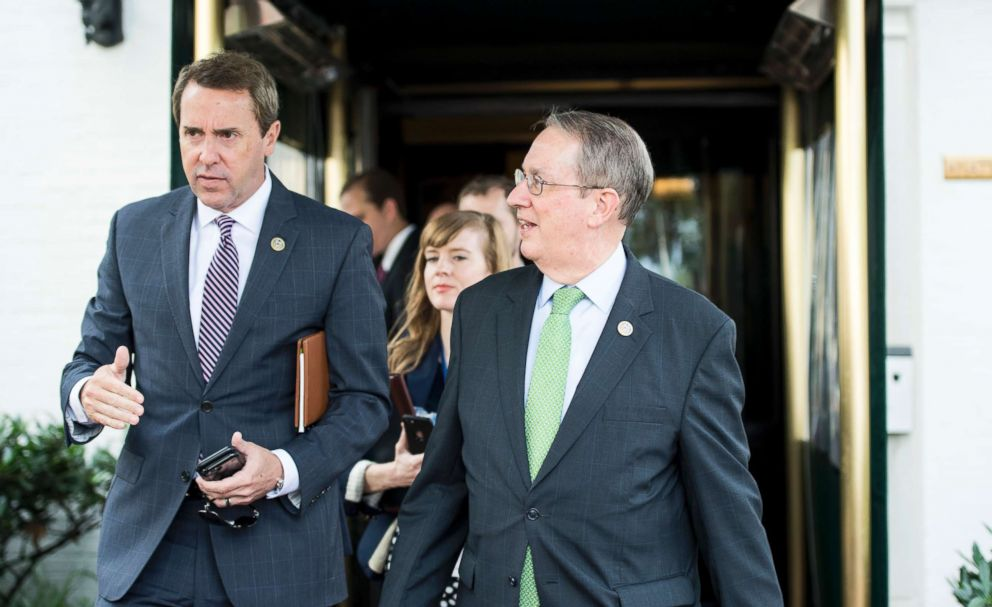 PHOTO: Mark Walker, left, and Bob Goodlatte talk as they leave the House Republican Conference meeting at the Capitol Hill Club in Washington, June 13, 2018.
