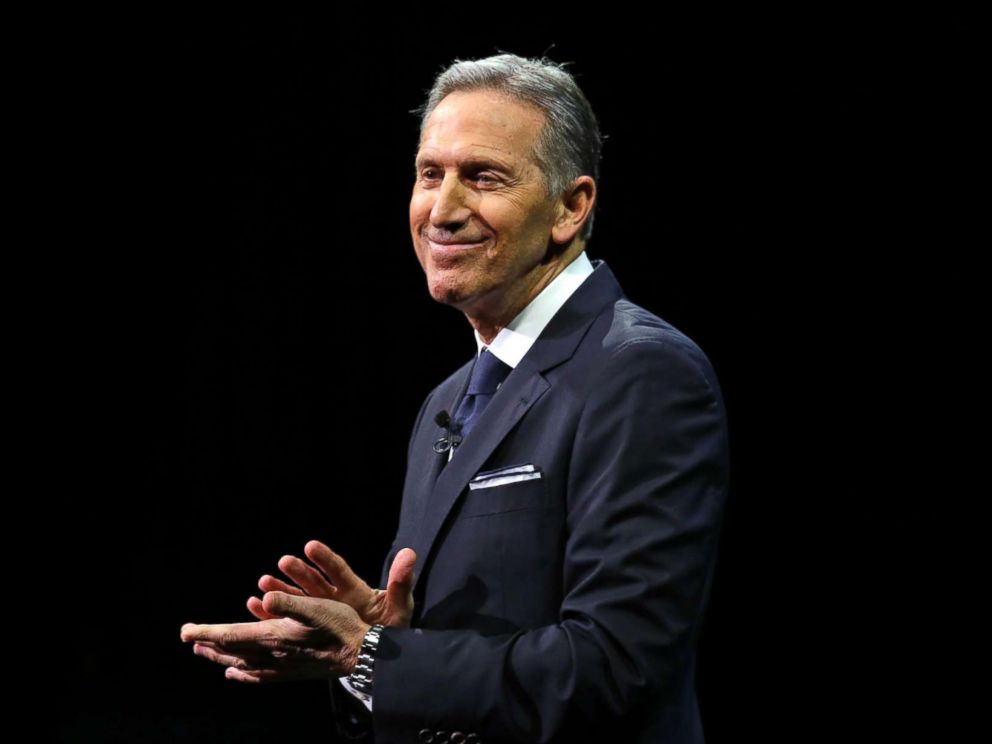 PHOTO: Then-Starbucks CEO Howard Schultz pauses as he speaks to applaud employees at the Starbucks annual shareholders meeting, March 22, 2017, in Seattle.