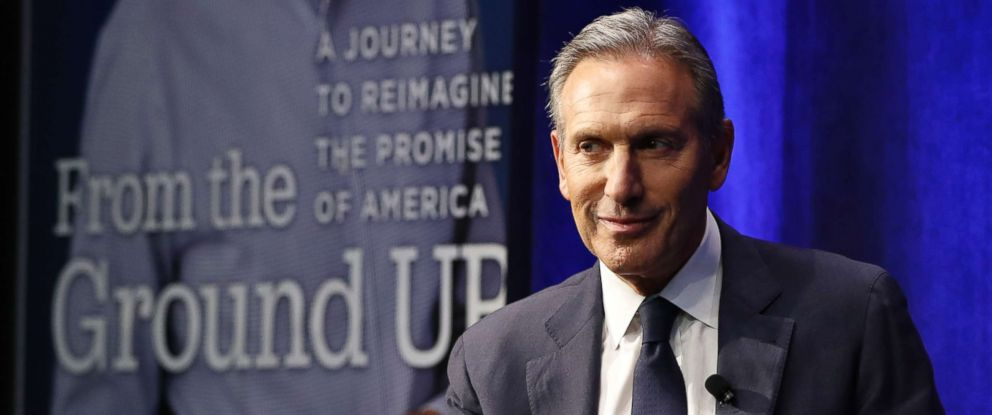 PHOTO: Former Starbucks CEO and Chairman Howard Schultz looks out at the audience during a book promotion tour, Jan. 28, 2019, in New York.