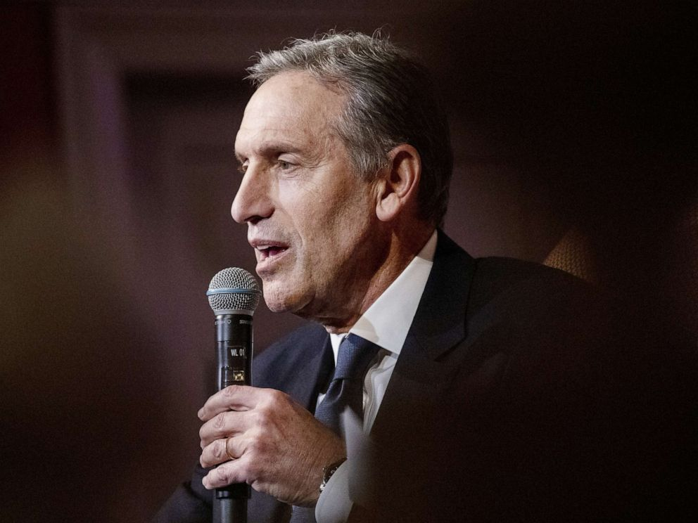 PHOTO: Howard Schultz speaks during his From the Ground Up book tour in Washington, D.C., Feb. 14, 2019.