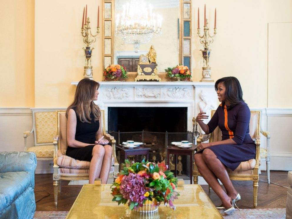 PHOTO: First Lady Michelle Obama meets with Melania Trump in the Yellow Oval Room of the White House in Washington, D.C., Nov. 10, 2016.