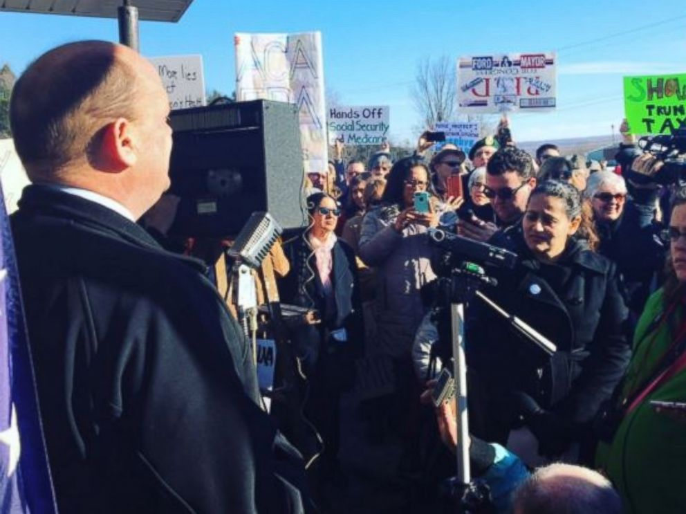 PHOTO: Rep. Tom Reed (D-NY) addresses a crowd outside of a town hall meeting, Feb. 17, 2017.
