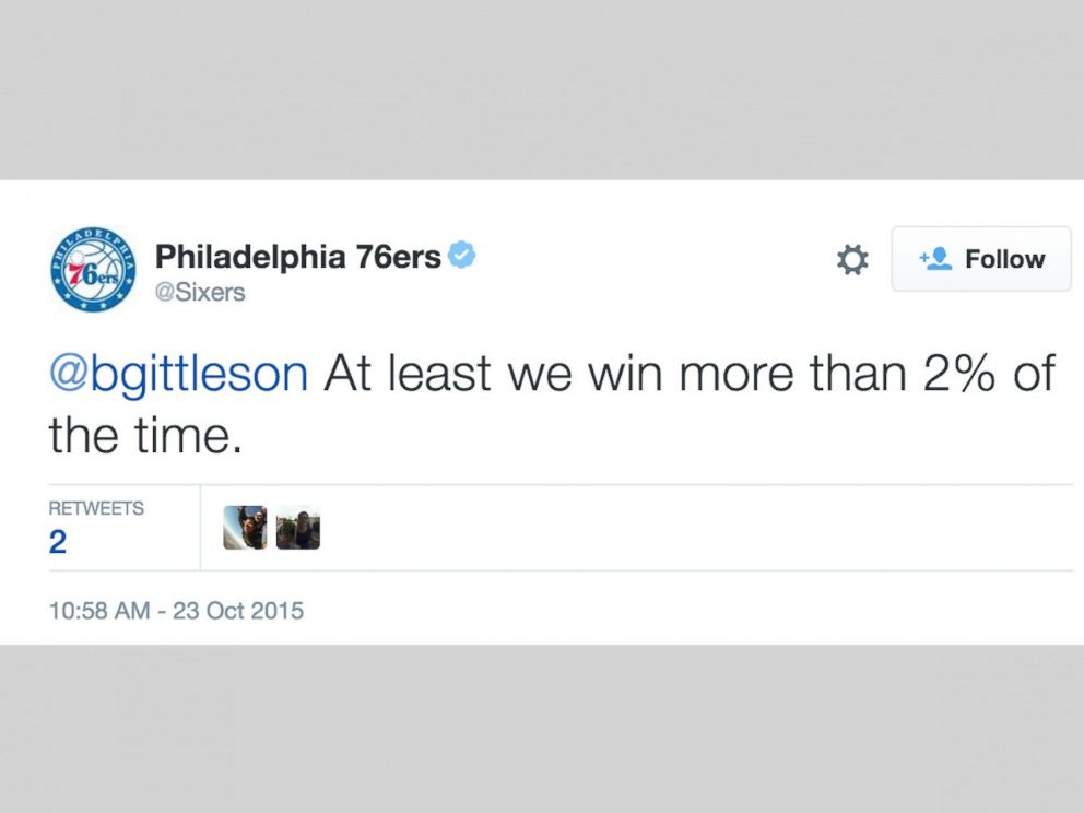 PHOTO: Tweet posted by Philadelphia 76ers Twitter account on Oct. 23, 2015.