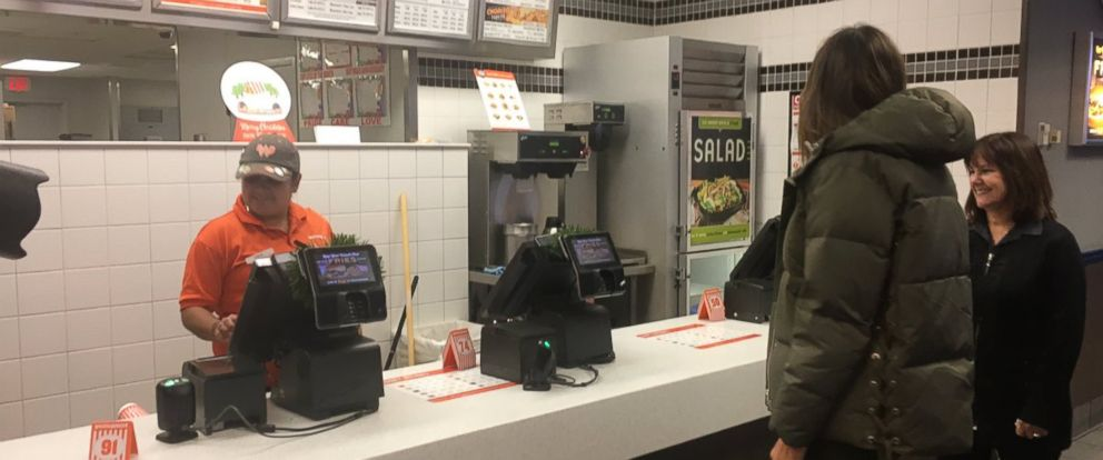 PHOTO: First lady Melania Trump (in jacket) with second lady Karen Pence at a Whataburger in Corpus Christi, Texas, on December 6, 2017.