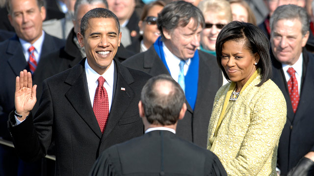 PHOTO: With his family by his side, Barack Obama is sworn in as the 44th president of the United States by Chief Justice of the United States John G. Roberts Jr. in Washington, D.C., Jan. 20, 2009.