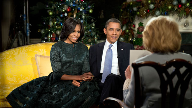 PHOTO: President Barack Obama and First Lady Michelle Obama participate in an interview with ABCs Barbara Walters in the Diplomatic Reception Room of the White House, Dec. 11, 2012.