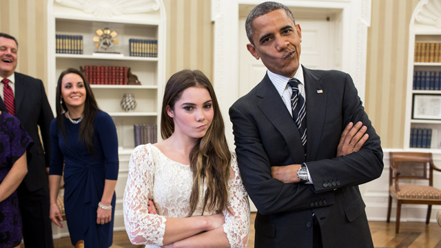"PHOTO: President Barack Obama jokingly mimics U.S. Olympic gymnast McKayla Maroney's ""not impressed"" look while greeting members of the 2012 U.S. Olympic gymnastics teams in the Oval Office, Nov. 15, 2012."