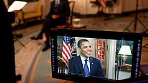 Photo: Barack Obama tapes his weekly address