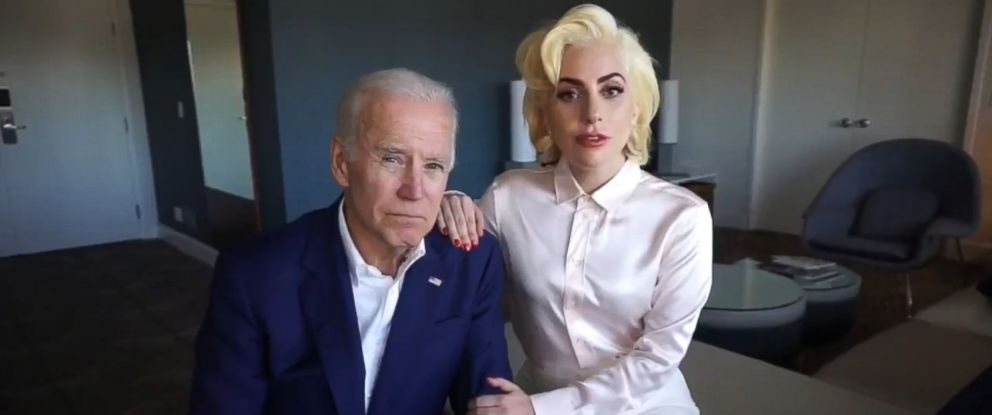 PHOTO: Former Vice President Joe Biden and singer Lady Gaga in an anti-sexual assault PSA.