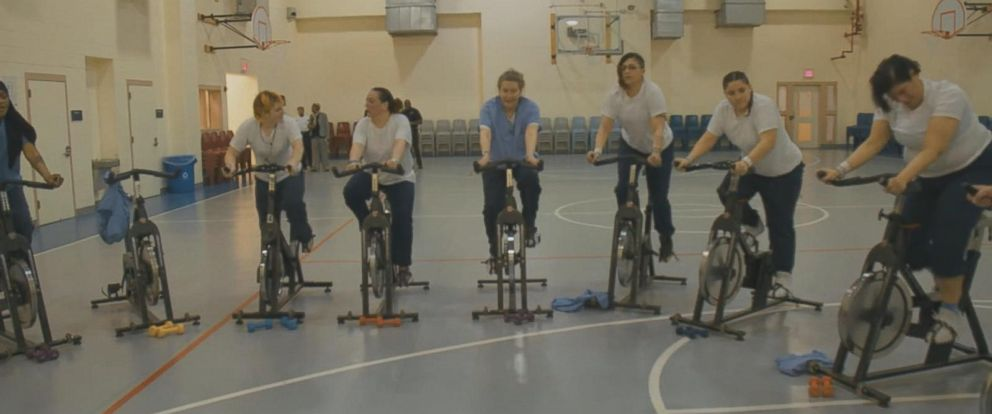 PHOTO: Riverside Correctional Facility in Philadelphia is one of the only jails in the country that has a regular spin class for female inmates.