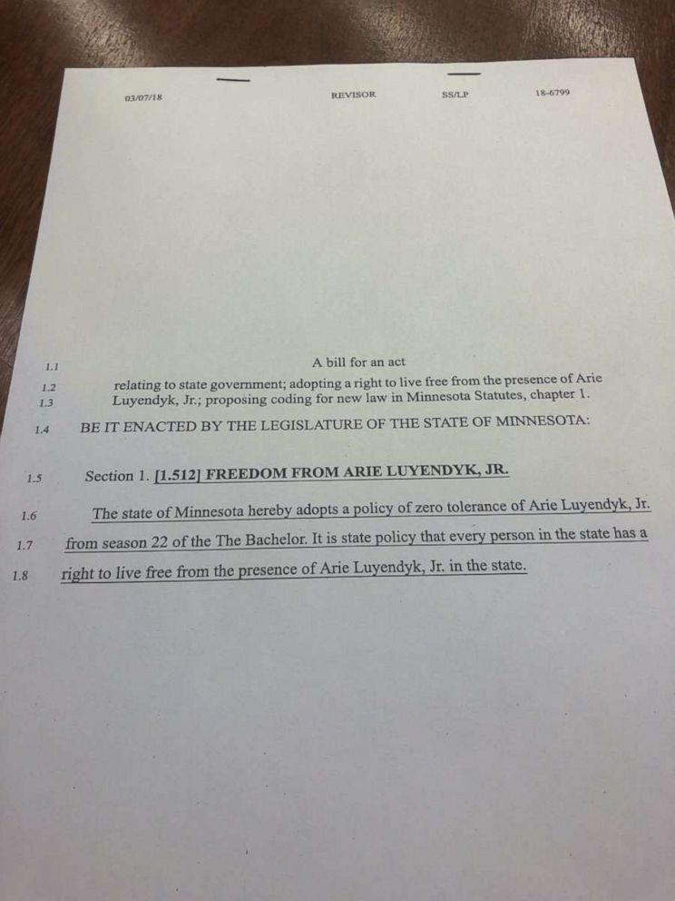 PHOTO: A copy of a bill drafted by Minnesota state Rep. Drew Christensen that would ban The Bachelor contestant Arie Luyendyk, Jr. from the state.